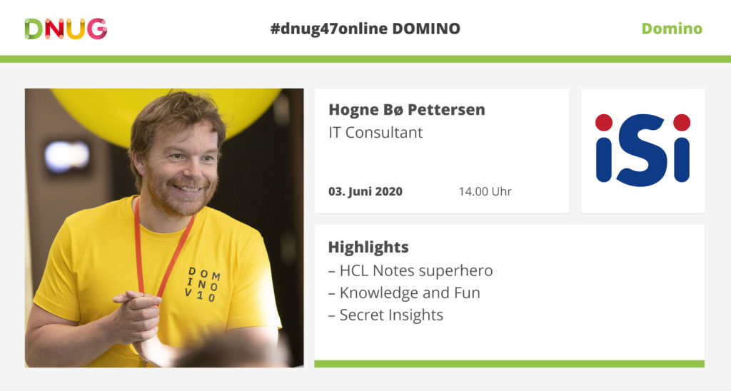 Hogne B. Pettersen from iSi will be at DNUG#47Online