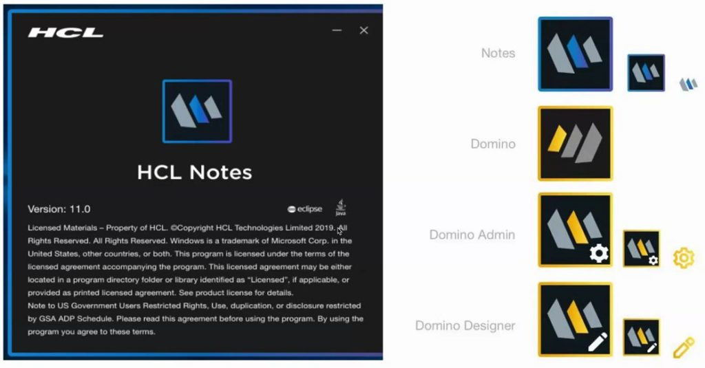 HCL Notes, Domino, Domino Admin and Domino Designer V12 logos