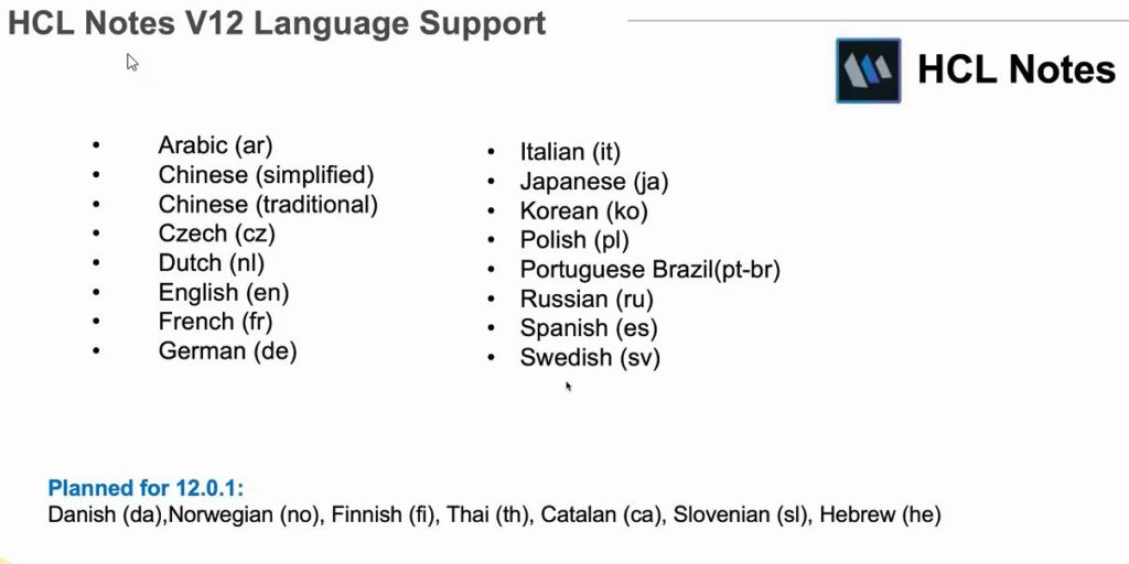 HCL Notes V12 Language support