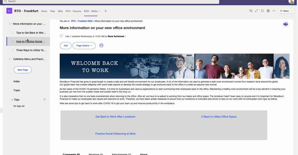 Connections wiki app inside Microsoft Teams