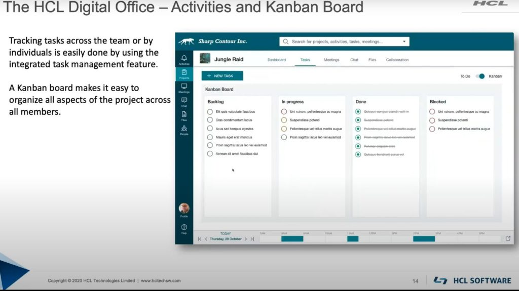 The HCL Digital Office - Activities and Kanban Board