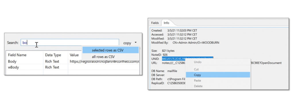 Export from HCL Notes V12.0.1 properties box to CSV